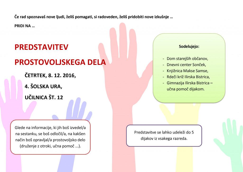 Predstavitev prostovoljskega dela na Gimnaziji Ilirska Bistrica