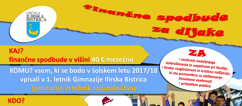 Finančne spodbude Občine Ilirska Bistrica vpisanim v 1. letnik Gimnazije Ilirska Bistrica