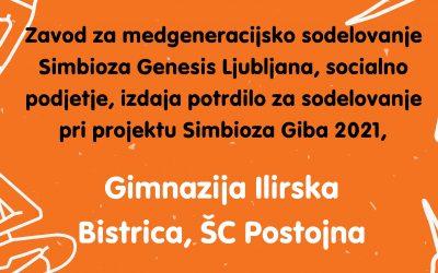 Gimnazija Ilirska Bistrica četrto leto zapored sodelovala pri izvedbi akcije Simbioza Giba